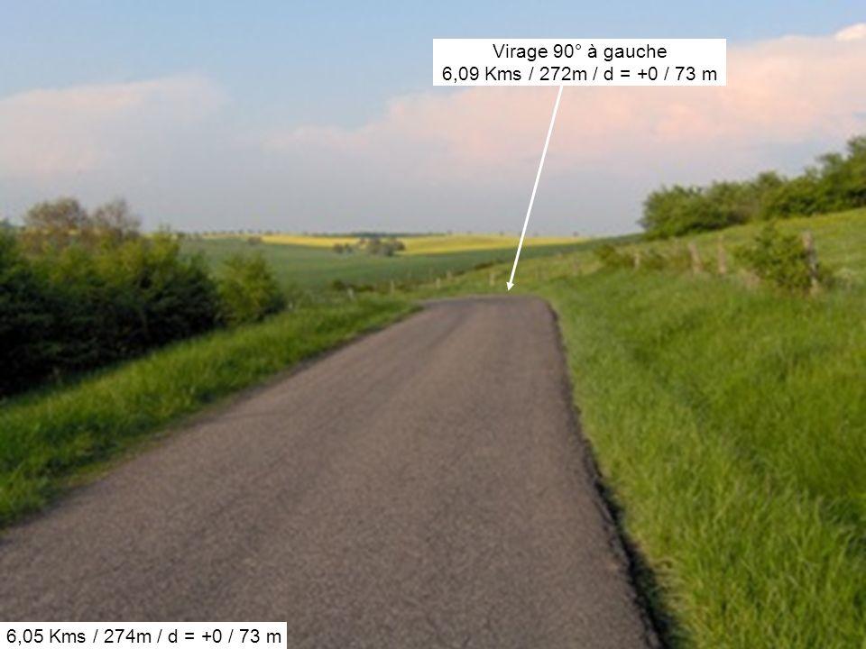 6,05 Kms / 274m / d = +0 / 73 m Virage 90° à gauche 6,09 Kms / 272m / d = +0 / 73 m
