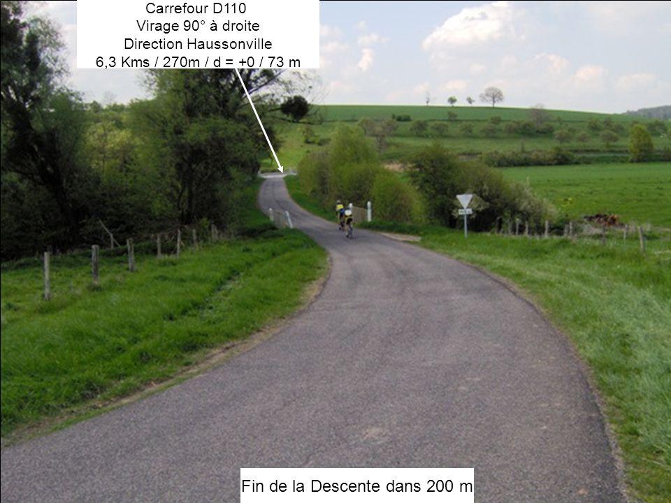 Fin de la Descente dans 200 m Carrefour D110 Virage 90° à droite Direction Haussonville 6,3 Kms / 270m / d = +0 / 73 m