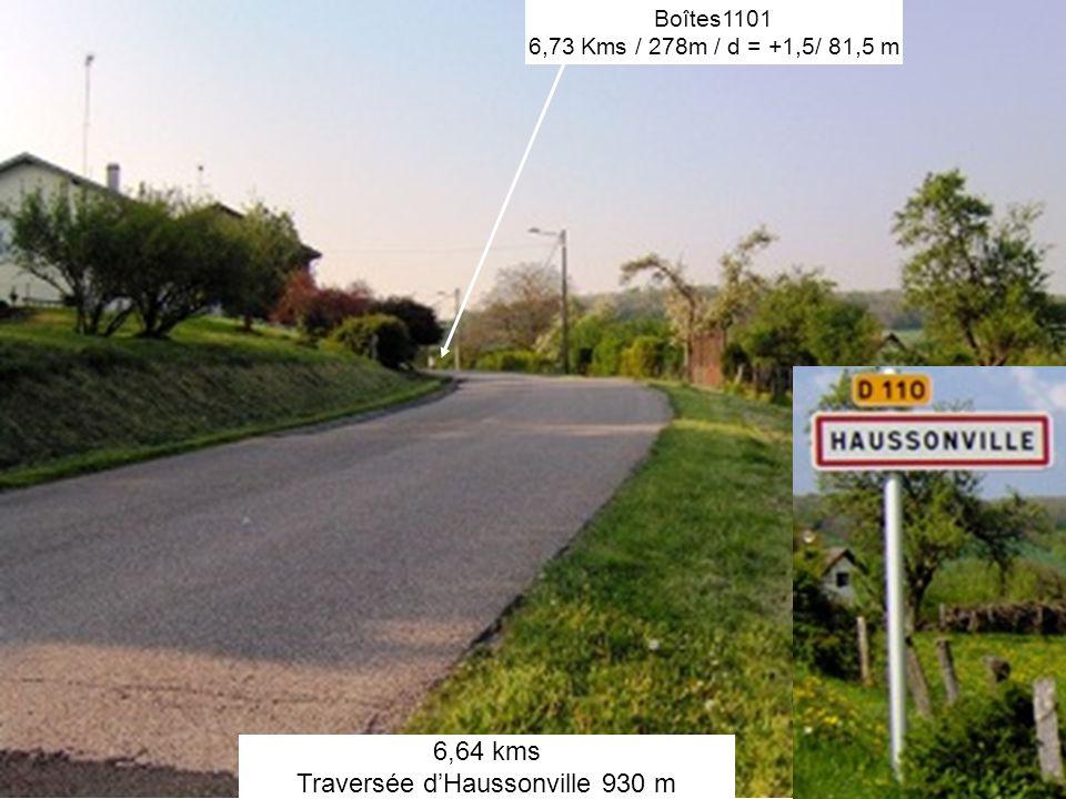 6,64 kms Traversée dHaussonville 930 m Boîtes1101 6,73 Kms / 278m / d = +1,5/ 81,5 m