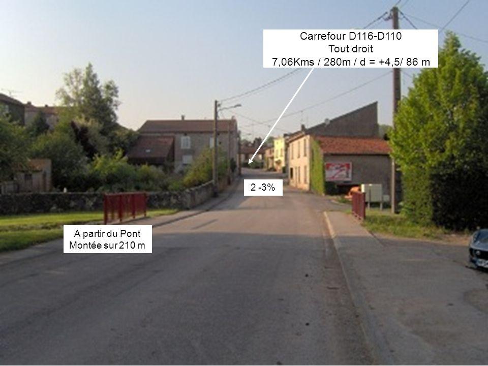 A partir du Pont Montée sur 210 m Carrefour D116-D110 Tout droit 7,06Kms / 280m / d = +4,5/ 86 m 2 -3%