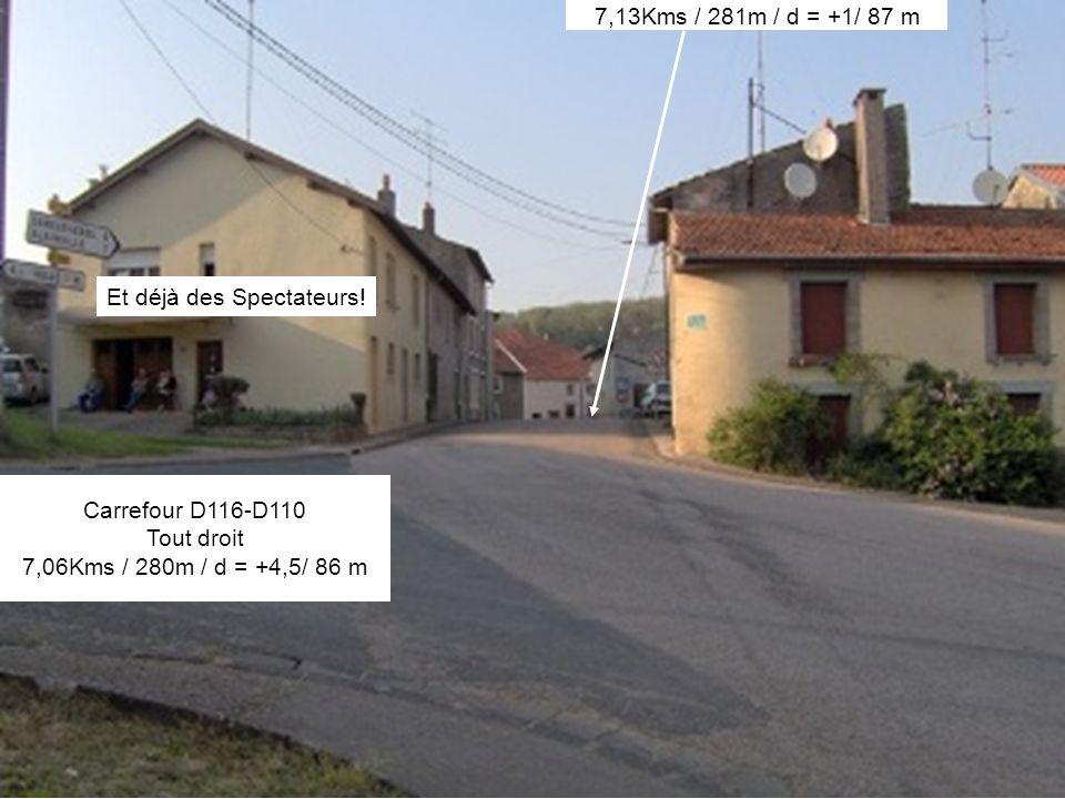 Carrefour D116-D110 Tout droit 7,06Kms / 280m / d = +4,5/ 86 m 7,13Kms / 281m / d = +1/ 87 m Et déjà des Spectateurs!