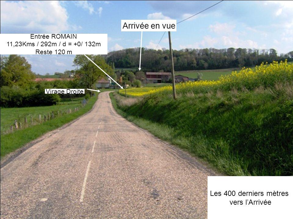 Arrivée en vue Les 400 derniers mètres vers lArrivée Virage Droite Entrée ROMAIN 11,23Kms / 292m / d = +0/ 132m Reste 120 m