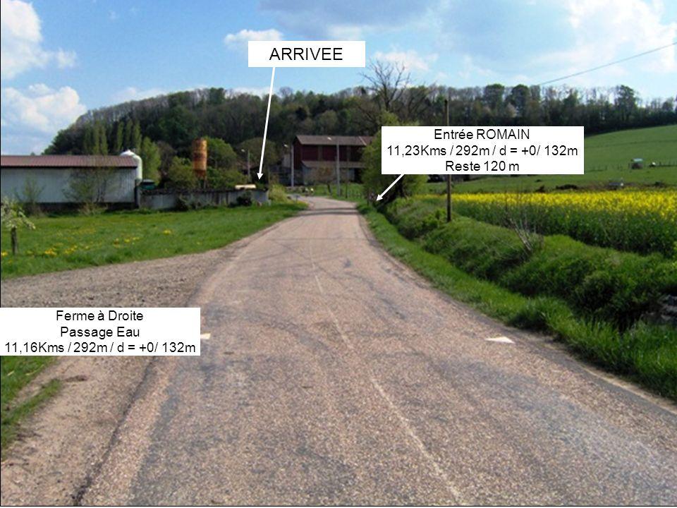 ARRIVEE Entrée ROMAIN 11,23Kms / 292m / d = +0/ 132m Reste 120 m Ferme à Droite Passage Eau 11,16Kms / 292m / d = +0/ 132m