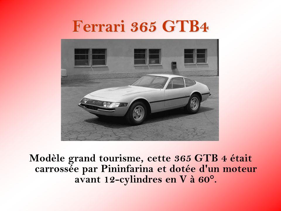 Ferrari 365 GTB4 Modèle grand tourisme, cette 365 GTB 4 était carrossée par Pininfarina et dotée d'un moteur avant 12-cylindres en V à 60°.