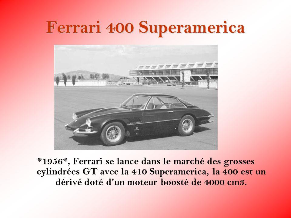 Ferrari 400 Superamerica *1956*, Ferrari se lance dans le marché des grosses cylindrées GT avec la 410 Superamerica, la 400 est un dérivé doté d'un mo