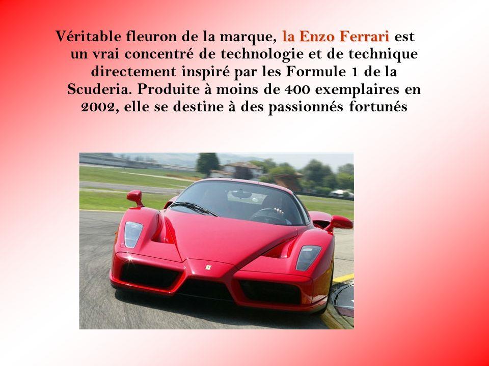 la Enzo Ferrari Véritable fleuron de la marque, la Enzo Ferrari est un vrai concentré de technologie et de technique directement inspiré par les Formu