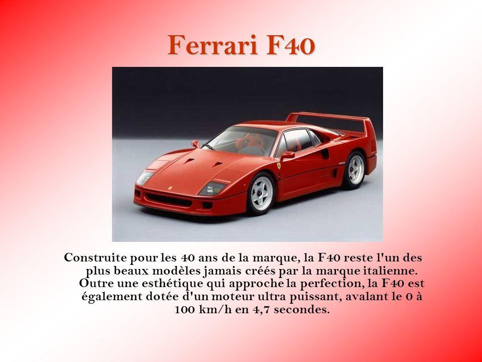 Ferrari F40 Construite pour les 40 ans de la marque, la F40 reste l'un des plus beaux modèles jamais créés par la marque italienne. Outre une esthétiq