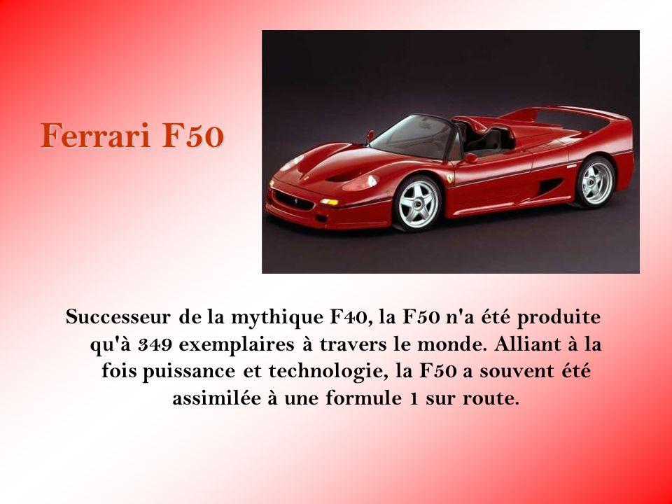 Successeur de la mythique F40, la F50 n'a été produite qu'à 349 exemplaires à travers le monde. Alliant à la fois puissance et technologie, la F50 a s