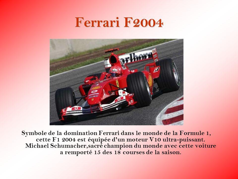 Ferrari F2004 Symbole de la domination Ferrari dans le monde de la Formule 1, cette F1 2004 est équipée d'un moteur V10 ultra-puissant. Michael Schuma