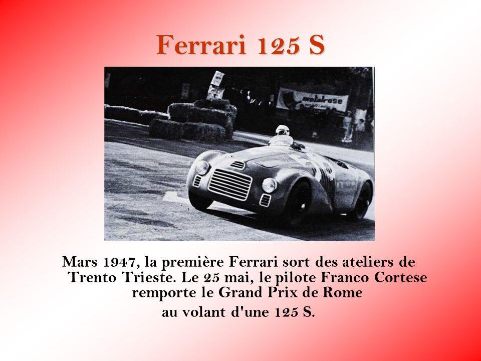 Ferrari 125 S Mars 1947, la première Ferrari sort des ateliers de Trento Trieste. Le 25 mai, le pilote Franco Cortese remporte le Grand Prix de Rome a