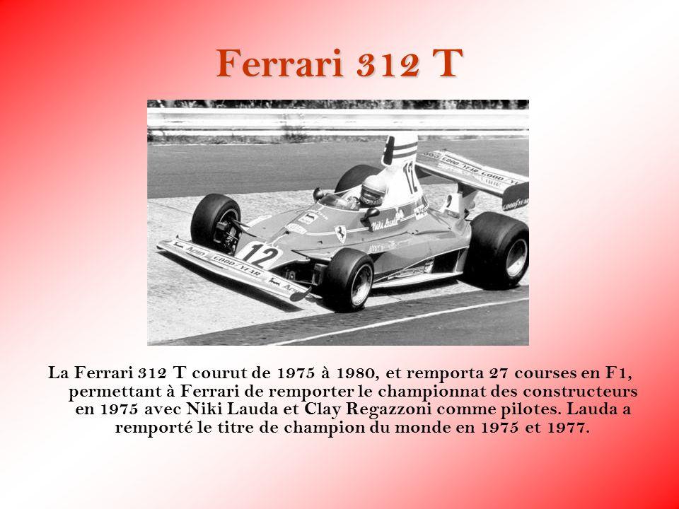 Ferrari 312 T La Ferrari 312 T courut de 1975 à 1980, et remporta 27 courses en F1, permettant à Ferrari de remporter le championnat des constructeurs