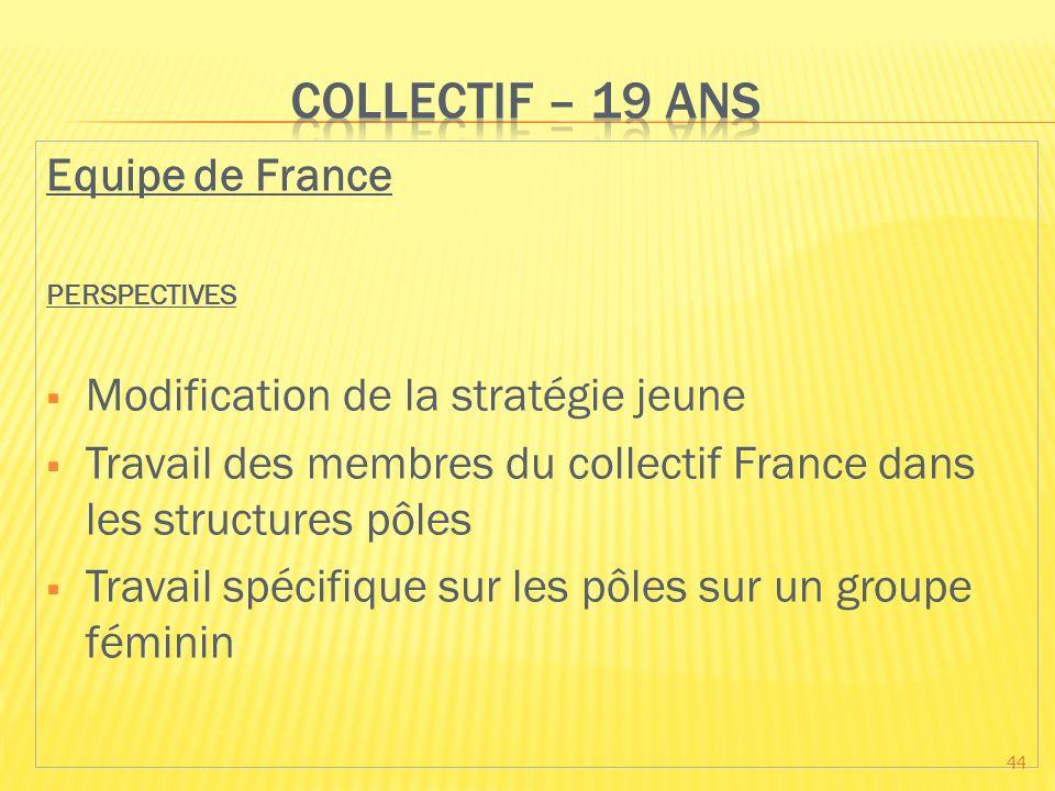 Equipe de France PERSPECTIVES Modification de la stratégie jeune Travail des membres du collectif France dans les structures pôles Travail spécifique