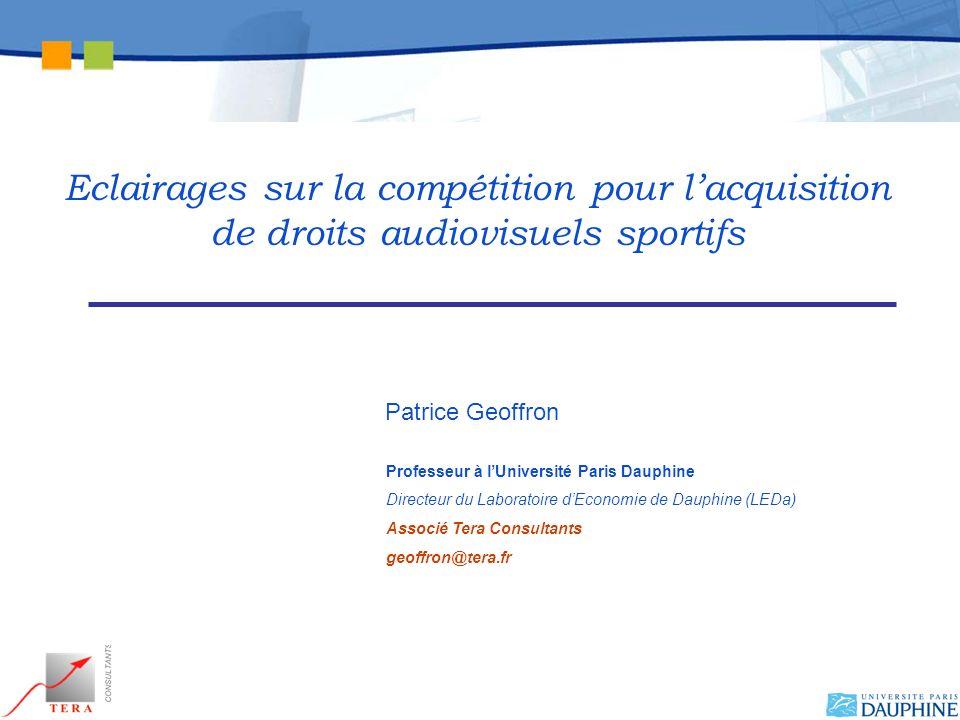 Patrice Geoffron Professeur à lUniversité Paris Dauphine Directeur du Laboratoire dEconomie de Dauphine (LEDa) Associé Tera Consultants geoffron@tera.