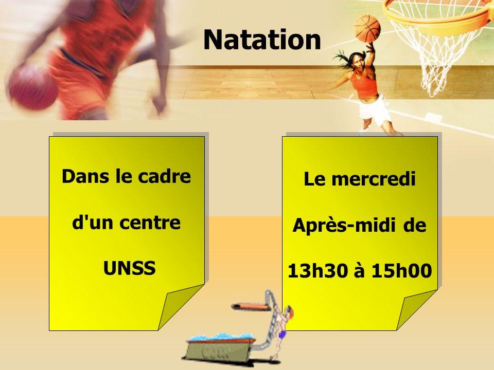 Natation Dans le cadre d'un centre UNSS Dans le cadre d'un centre UNSS Le mercredi Après-midi de 13h30 à 15h00 Le mercredi Après-midi de 13h30 à 15h00