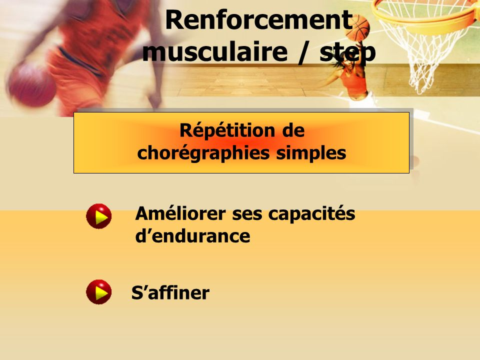 Renforcement musculaire / step Répétition de chorégraphies simples Améliorer ses capacités dendurance Saffiner