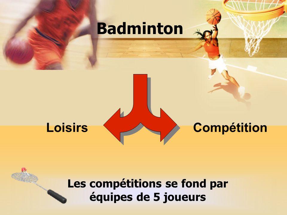 Badminton LoisirsCompétition Les compétitions se fond par équipes de 5 joueurs