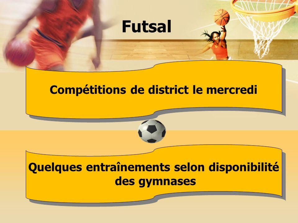 Compétitions de district le mercredi Quelques entraînements selon disponibilité des gymnases Quelques entraînements selon disponibilité des gymnases Futsal