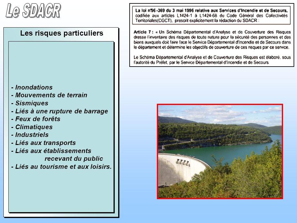 - Inondations - Mouvements de terrain - Sismiques - Liés à une rupture de barrage - Feux de forêts - Climatiques - Industriels - Liés aux transports -