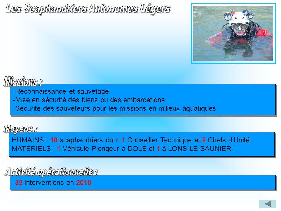 -Reconnaissance et sauvetage -Mise en sécurité des biens ou des embarcations -Sécurité des sauveteurs pour les missions en milieux aquatiques -Reconna