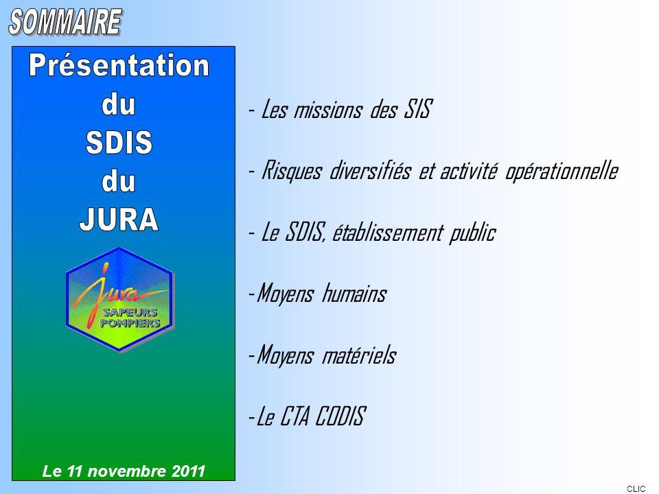 - Les missions des SIS - Risques diversifiés et activité opérationnelle - Le SDIS, établissement public -Moyens humains -Moyens matériels -Le CTA CODI