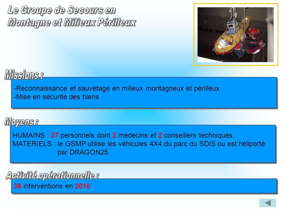 -Reconnaissance et sauvetage en milieux montagneux et périlleux -Mise en sécurité des biens -Reconnaissance et sauvetage en milieux montagneux et péri