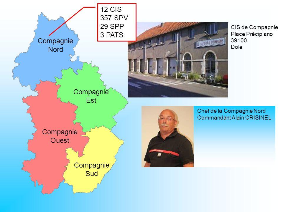 CIS de Compagnie Place Précipiano 39100 Dole Compagnie Nord Compagnie Est Compagnie Ouest Compagnie Sud 12 CIS 357 SPV 29 SPP 3 PATS Chef de la Compag