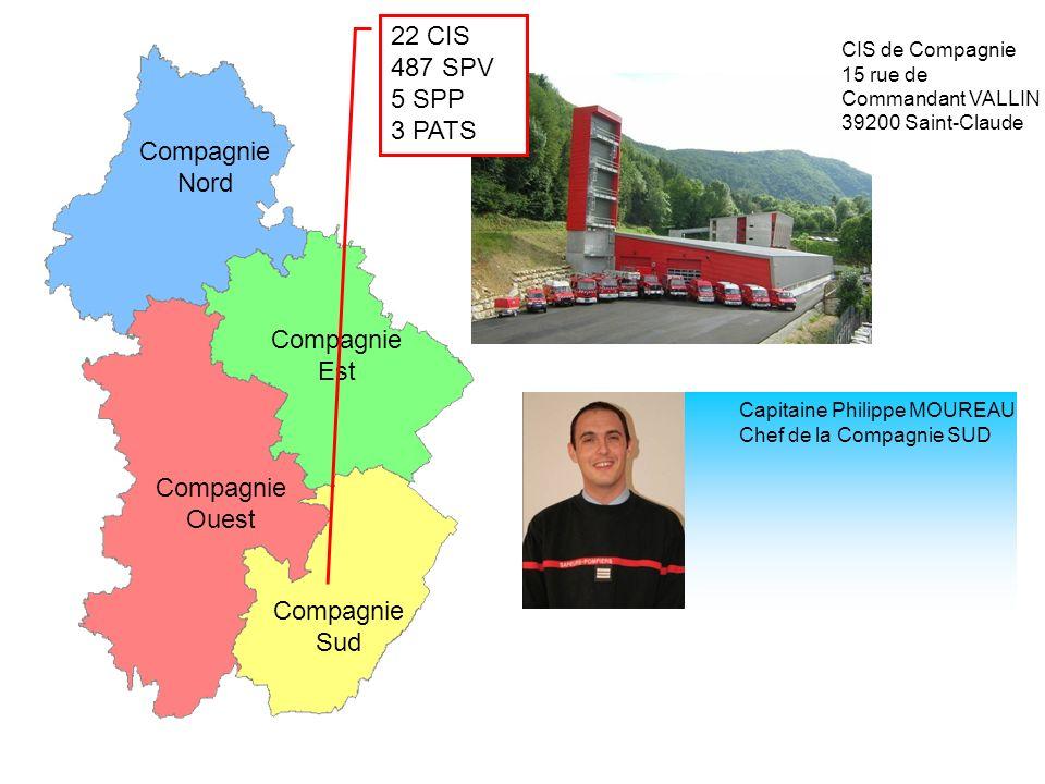 CIS de Compagnie 15 rue de Commandant VALLIN 39200 Saint-Claude Compagnie Nord Compagnie Est Compagnie Ouest Compagnie Sud 22 CIS 487 SPV 5 SPP 3 PATS