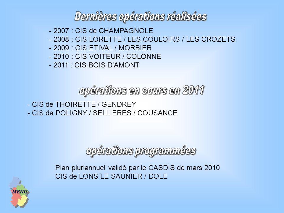 - 2007 : CIS de CHAMPAGNOLE - 2008 : CIS LORETTE / LES COULOIRS / LES CROZETS - 2009 : CIS ETIVAL / MORBIER - 2010 : CIS VOITEUR / COLONNE - 2011 : CI