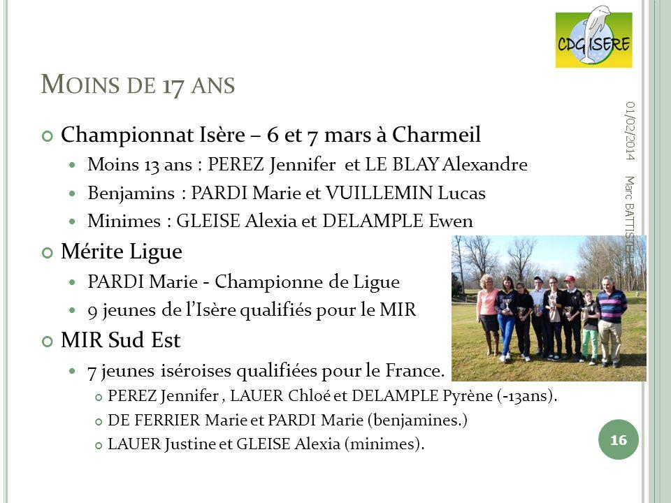 Championnat Isère – 6 et 7 mars à Charmeil Moins 13 ans : PEREZ Jennifer et LE BLAY Alexandre Benjamins : PARDI Marie et VUILLEMIN Lucas Minimes : GLE