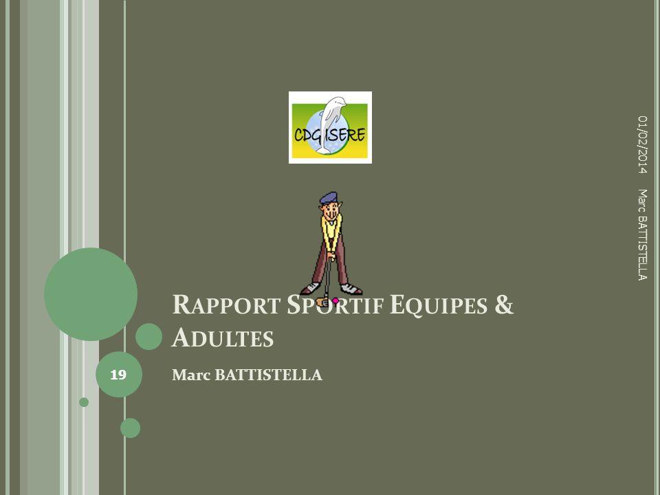 R APPORT S PORTIF E QUIPES & A DULTES Marc BATTISTELLA 01/02/2014 19 Marc BATTISTELLA
