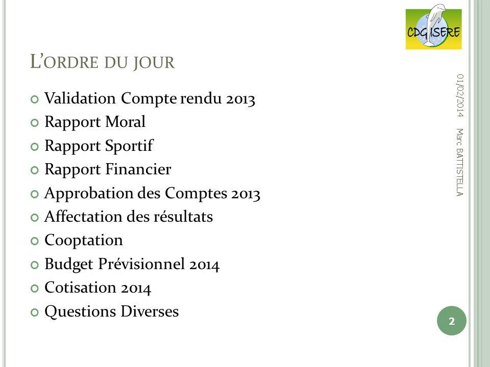 Validation Compte rendu 2013 Rapport Moral Rapport Sportif Rapport Financier Approbation des Comptes 2013 Affectation des résultats Cooptation Budget