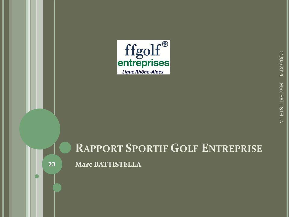 R APPORT S PORTIF G OLF E NTREPRISE Marc BATTISTELLA 01/02/2014 23 Marc BATTISTELLA
