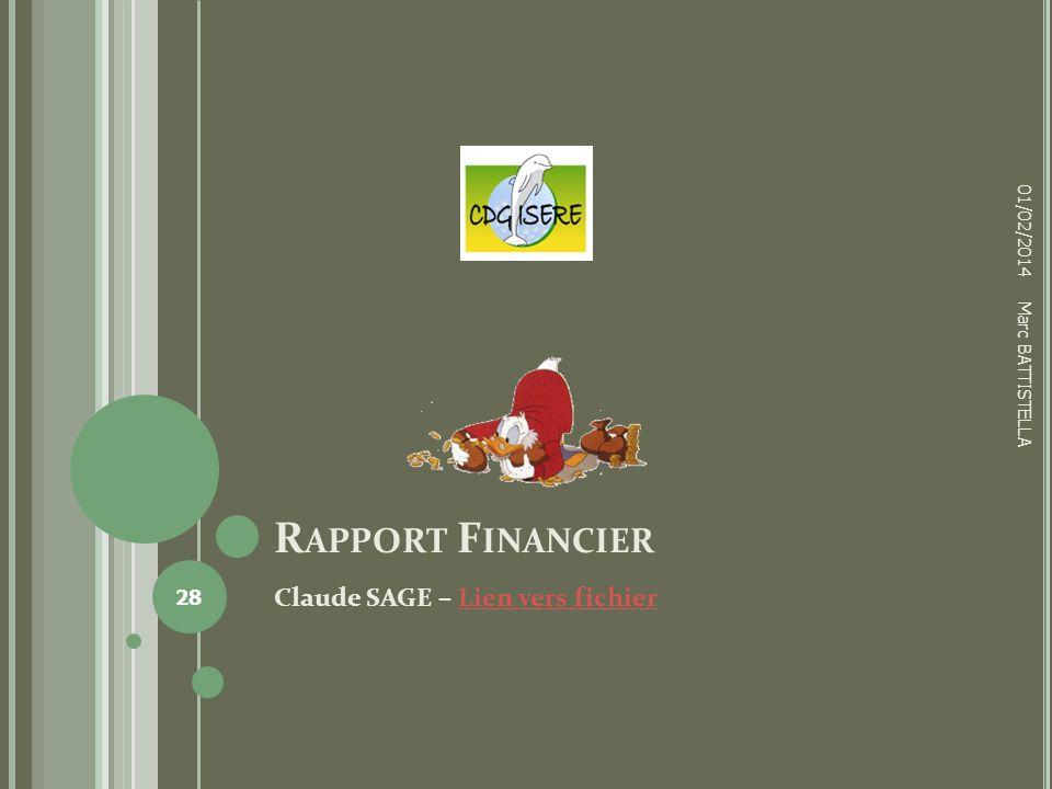 R APPORT F INANCIER Claude SAGE – Lien vers fichierLien vers fichier 01/02/2014 28 Marc BATTISTELLA