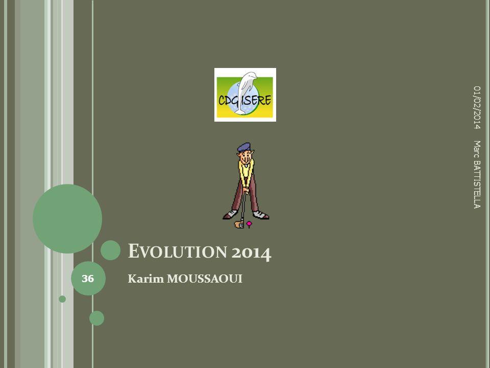 E VOLUTION 2014 Karim MOUSSAOUI 01/02/2014 36 Marc BATTISTELLA