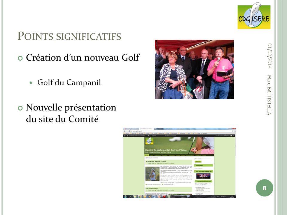 Création dun nouveau Golf Golf du Campanil Nouvelle présentation du site du Comité P OINTS SIGNIFICATIFS 01/02/2014 8 Marc BATTISTELLA