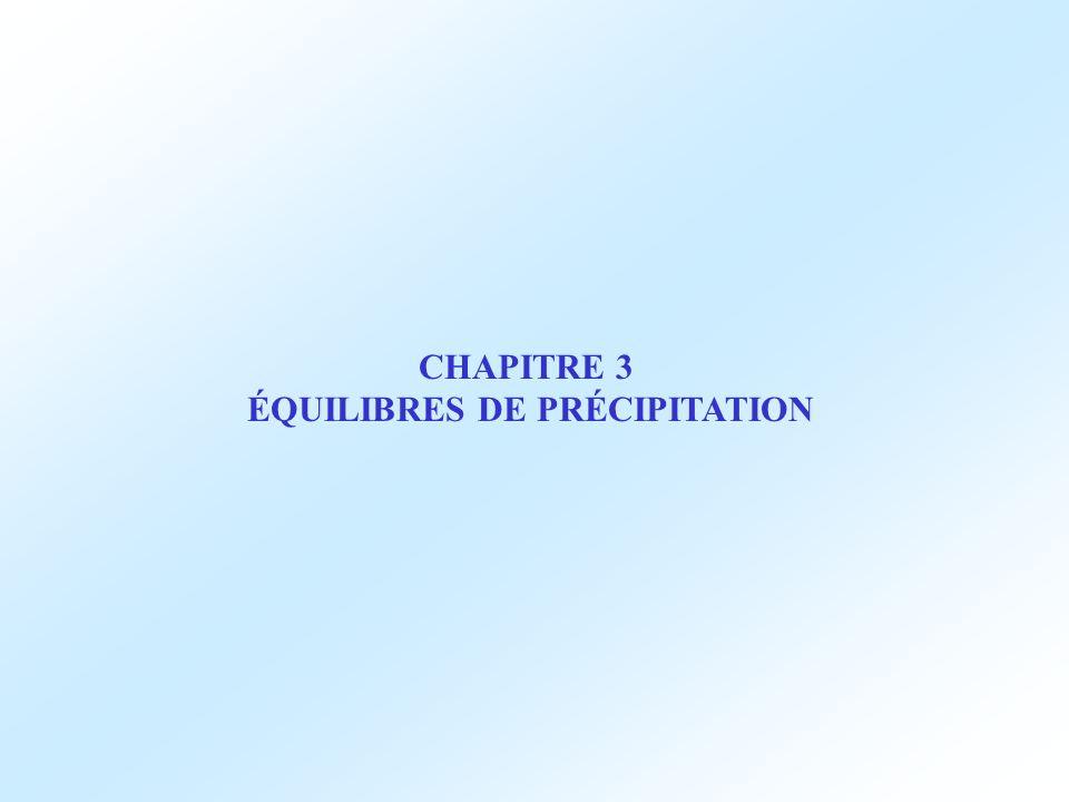 CHAPITRE 3 ÉQUILIBRES DE PRÉCIPITATION