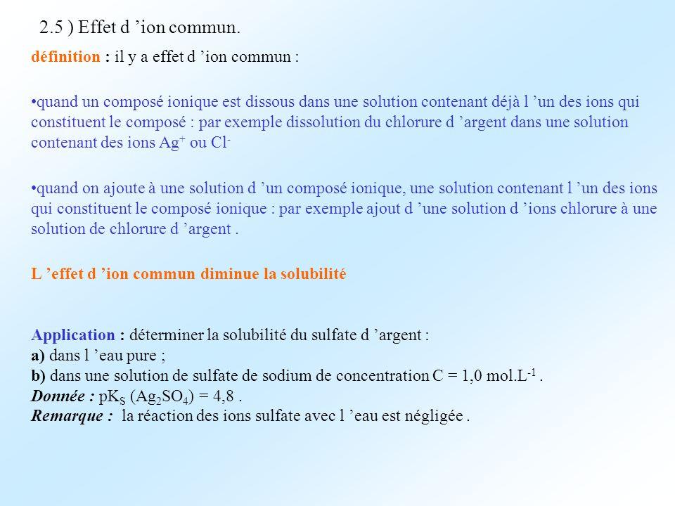 2.5 ) Effet d ion commun. définition : il y a effet d ion commun : quand un composé ionique est dissous dans une solution contenant déjà l un des ions