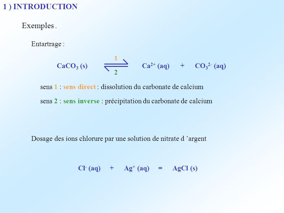 1 ) INTRODUCTION Exemples. Entartrage : CaCO 3 (s)Ca 2+ (aq) + CO 3 2- (aq) 1 2 sens 1 : sens direct : dissolution du carbonate de calcium sens 2 : se