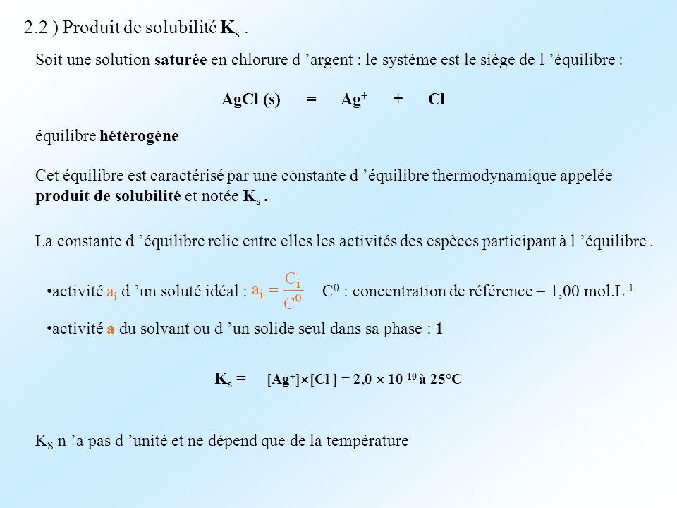 2.2 ) Produit de solubilité K s. Soit une solution saturée en chlorure d argent : le système est le siège de l équilibre : AgCl (s) = Ag + + Cl - équi