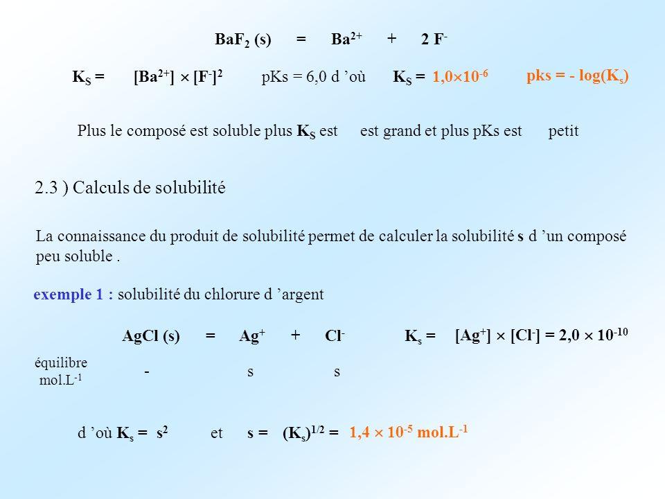 BaF 2 (s) = Ba 2+ + 2 F - K S = [Ba 2+ ] [F - ] 2 pKs = 6,0 d oùK S = 1,0 10 -6 Plus le composé est soluble plus K S estest grand et plus pKs estpetit