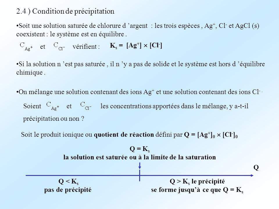 2.4 ) Condition de précipitation Soit une solution saturée de chlorure d argent : les trois espèces, Ag +, Cl - et AgCl (s) coexistent : le système es