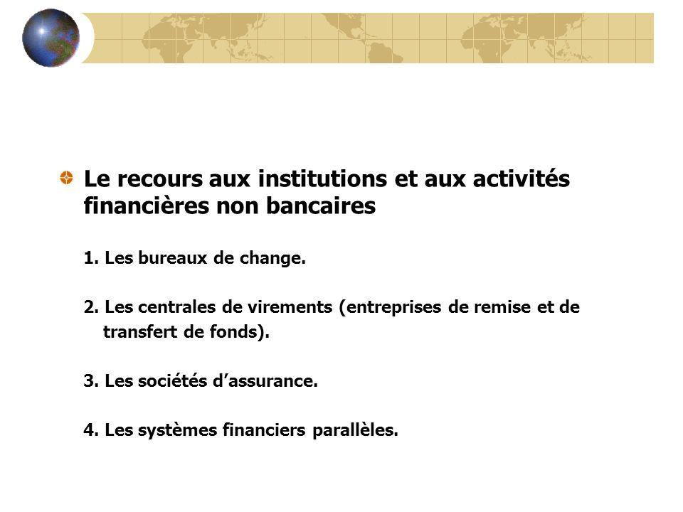 Le recours aux institutions et aux activités financières non bancaires 1. Les bureaux de change. 2. Les centrales de virements (entreprises de remise