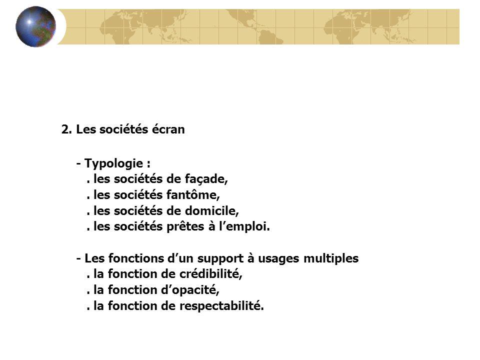 2. Les sociétés écran - Typologie :. les sociétés de façade,. les sociétés fantôme,. les sociétés de domicile,. les sociétés prêtes à lemploi. - Les f