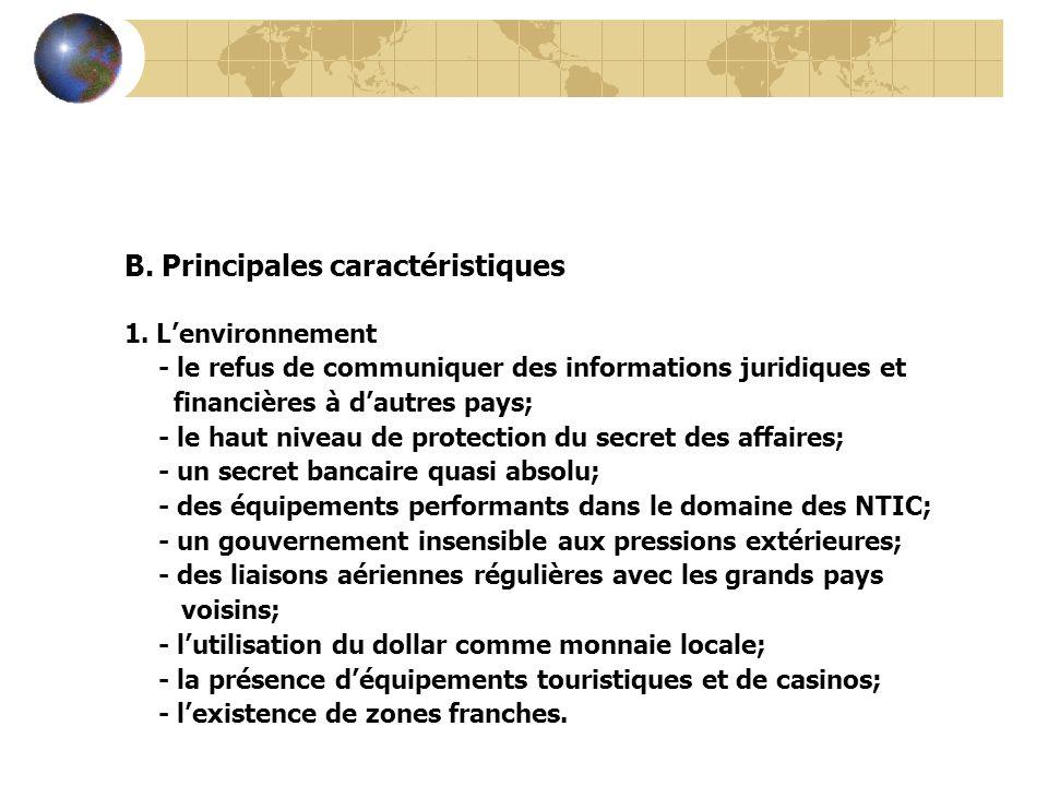 B. Principales caractéristiques 1. Lenvironnement - le refus de communiquer des informations juridiques et financières à dautres pays; - le haut nivea