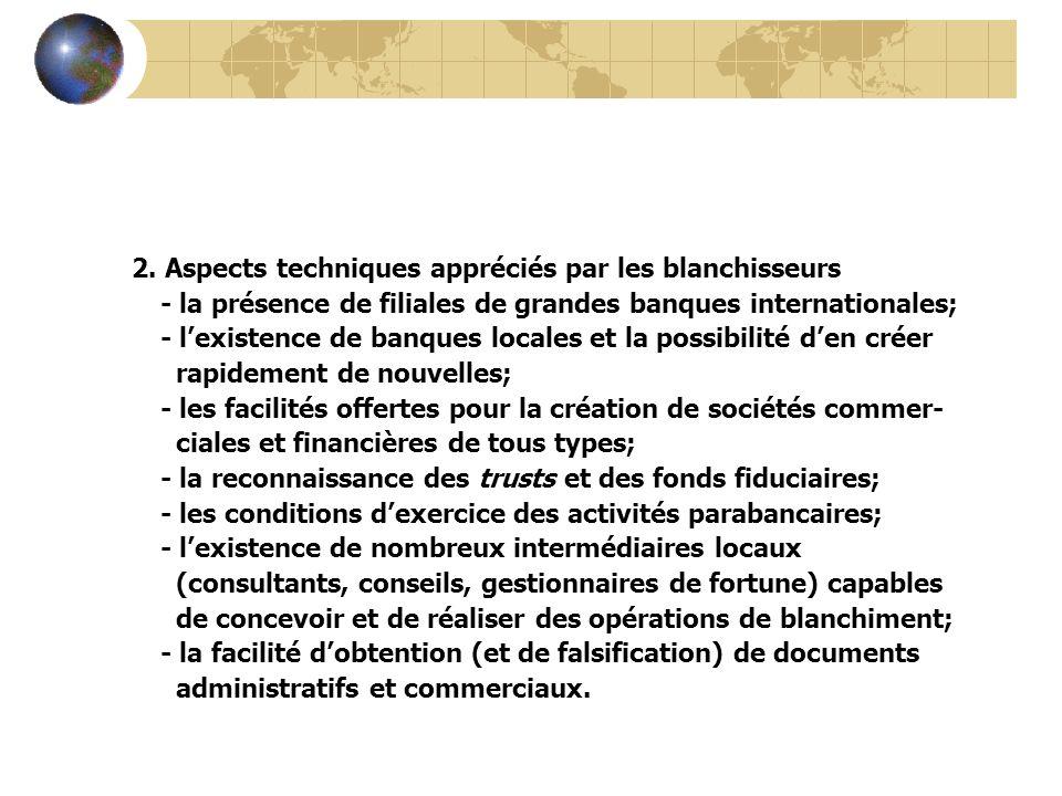 2. Aspects techniques appréciés par les blanchisseurs - la présence de filiales de grandes banques internationales; - lexistence de banques locales et