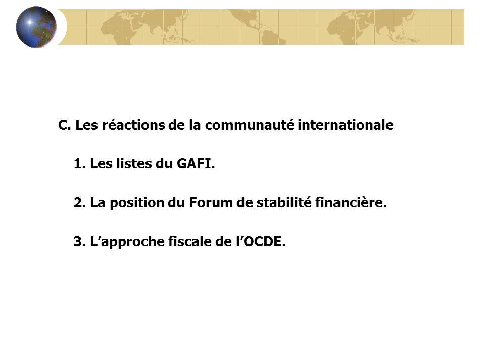 C. Les réactions de la communauté internationale 1. Les listes du GAFI. 2. La position du Forum de stabilité financière. 3. Lapproche fiscale de lOCDE