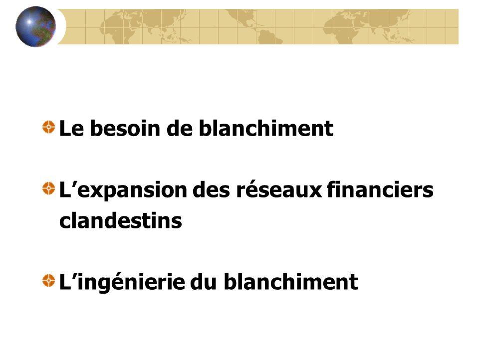 Le besoin de blanchiment Lexpansion des réseaux financiers clandestins Lingénierie du blanchiment