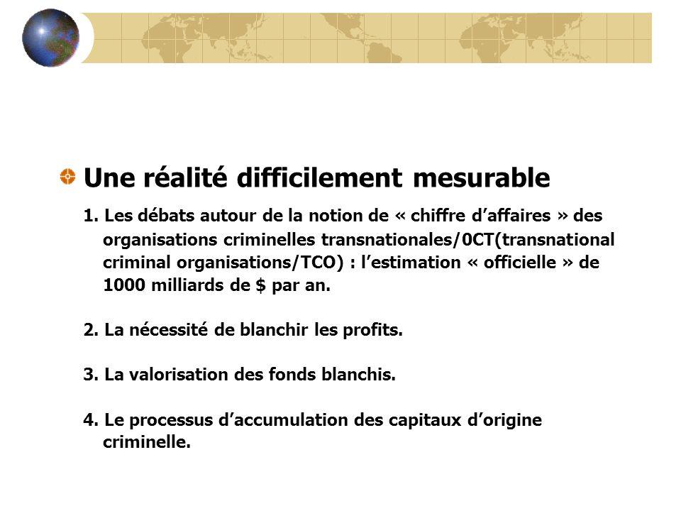 Une réalité difficilement mesurable 1. Les débats autour de la notion de « chiffre daffaires » des organisations criminelles transnationales/0CT(trans