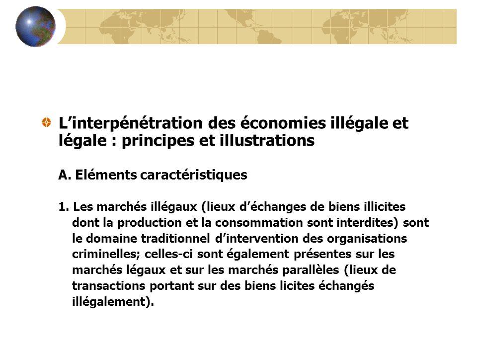 Linterpénétration des économies illégale et légale : principes et illustrations A. Eléments caractéristiques 1. Les marchés illégaux (lieux déchanges