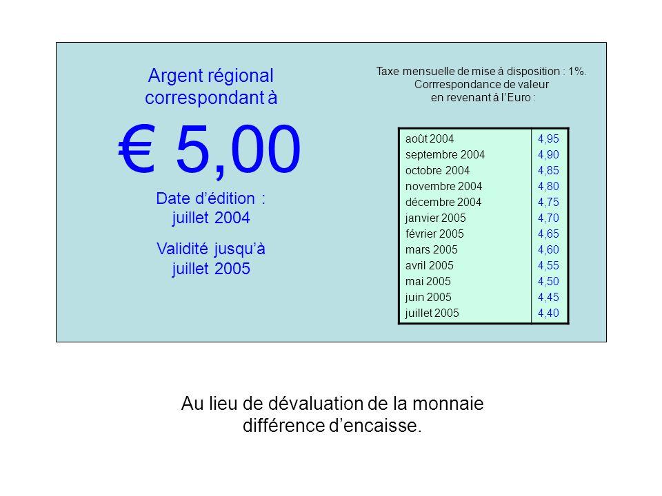 Argent régional correspondant à 5,00 Date dédition : juillet 2004 Validité jusquà juillet 2005 Taxe mensuelle de mise à disposition : 1%.